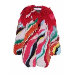 Striped Intarsia Fur Coat by Roberto Cavalli in Scream Queens