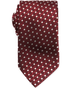 Bordeaux Silk Dot Print Tie by Ermenegildo Zegna in Suits