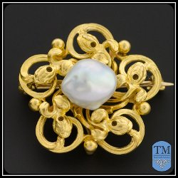 Art Nouveau Gold & Baroque Pearl Brooch by Krementz in That Awkward Moment