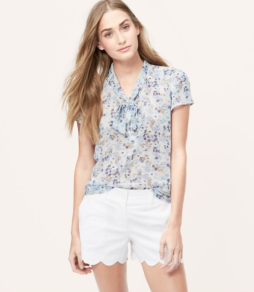 Floral Bow Neck Blouse by Loft in Southpaw