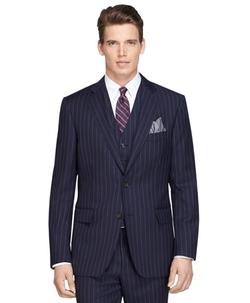 Regent Fit Navy Bold Stripe Three-Piece 1818 Suit by Brooks Brothers in Scarface