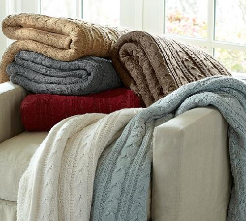 COZY CABLE KNIT THROW by Pottery Barn in Transcendence