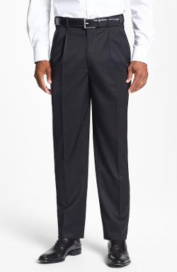 Double Pleated Super 100s Worsted Wool Trousers by JB Britches in Unbroken