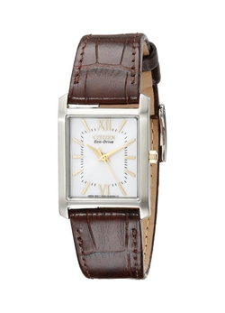 """Eco-Drive"" Stainless Steel And Brown Leather Watch by Citizen in Pretty Little Liars"