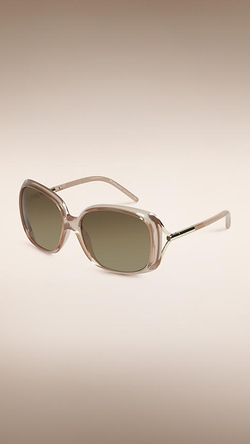 Trench Collection Oversize Rounded Frame Sunglasses by Burberry in By the Sea