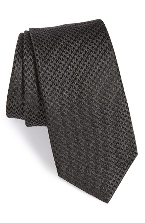 Houndstooth Silk Tie by Yves Saint Laurent in Empire