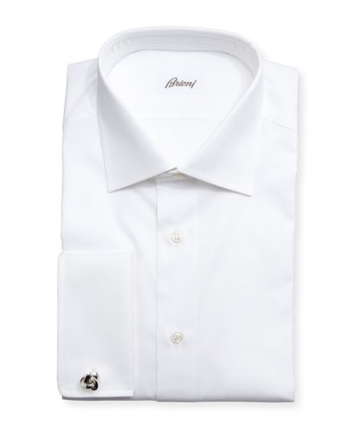 Diamond-Weave French-Cuff Shirt by Brioni in Black or White