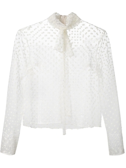 Sheer Lace Pussy Bow Blouse by Rochas in By the Sea