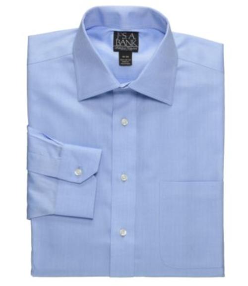 Signature Spread Collar Barrel Cuff Herringbone Dress Shirt by Jos. A. Bank in Boyhood