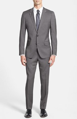 'Huge/Genius' Trim Fit Wool Suit by Hugo Boss in Crazy, Stupid, Love.