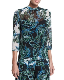 Ikebana-Print High-Collar Blouse by Just Cavalli in Scandal