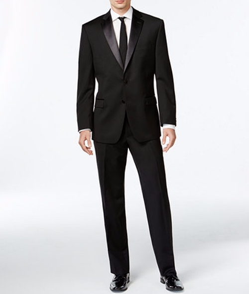 Two-Button Slim-Fit Tuxedo Suit by Calvin Klein in Love, Rosie