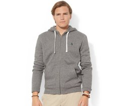 Classic Fleece Full-Zip Hoodie by Polo Ralph Lauren in Fifty Shades of Grey