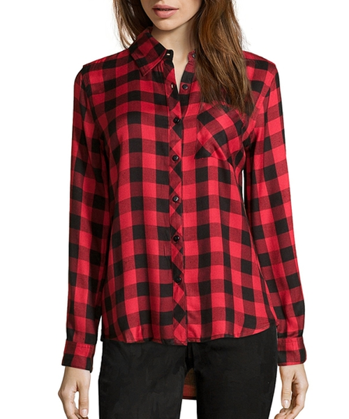 Plaid Flannel Button Front Shirt by Wyatt in Chelsea - Season 1 Episode 4