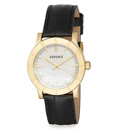 Acron Mother-Of-Pearl  Leather Watch by Versace in Billions