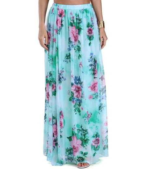 Floral Major Class Mint Maxi Skirt by Windsor in Sinister 2