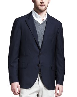 Deconstructed Travel Jacket, Navy by Brunello Cucinelli in The November Man