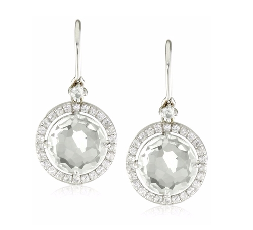 Round White Topaz Wire Drop Earrings by Suzanne Kalan in The Good Wife - Season 7 Episode 22