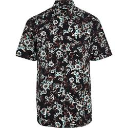 Black Blurred Floral Print Short Sleeve Shirt by River Island in The Expendables 3