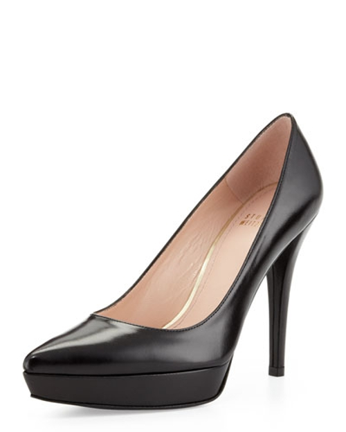 Point Leather Platform Pump Shoes by Stuart Weitzman in Unfinished Business