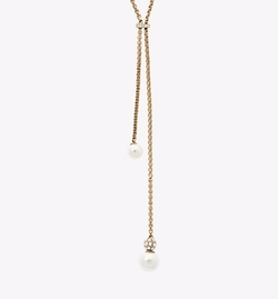 Gold-Tone Glass Pearl Pendant Necklace by Michael Kors in Quantico
