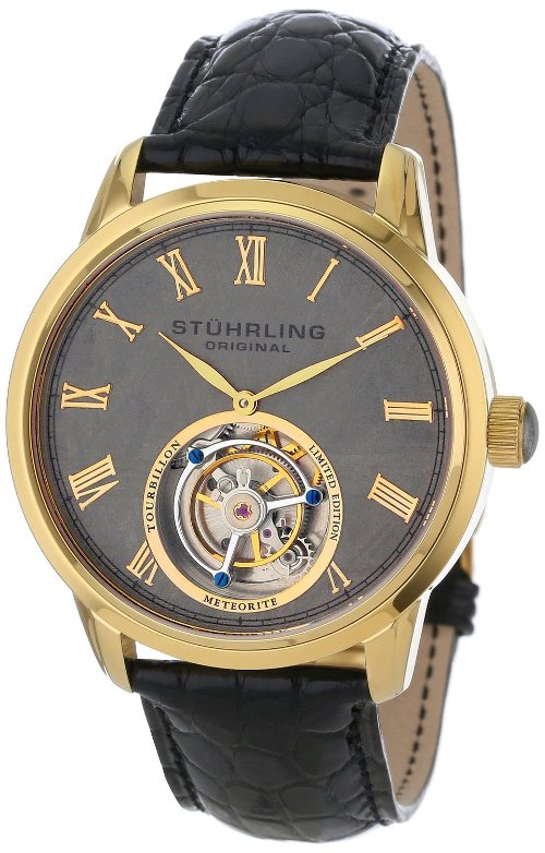 Tourbillon Meteorite Mechanical Gold-Tone Watch by Stuhrling Original in Entourage