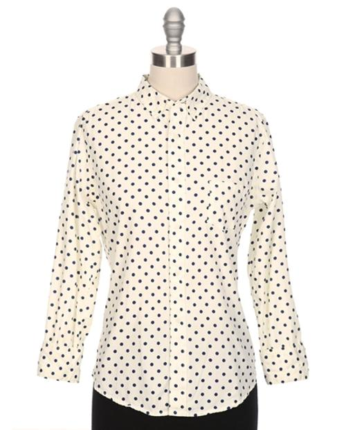 Poplin Polka Dot Button Down Shirt by Gitman Brothers Sisters in And So It Goes