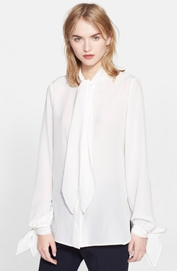 Tie Neck Silk Crepe Blouse by Alexander McQueen in Scandal
