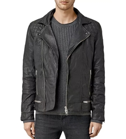 Conroy Leather Biker Jacket by All Saints in Animal Kingdom