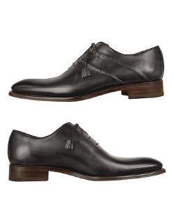 Black Italian Handcrafted Leather Oxford Dress Shoes by Forzieri in Yves Saint Laurent