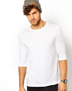 3/4 Sleeve T-Shirt With Crew Neck by ASOS in Sabotage