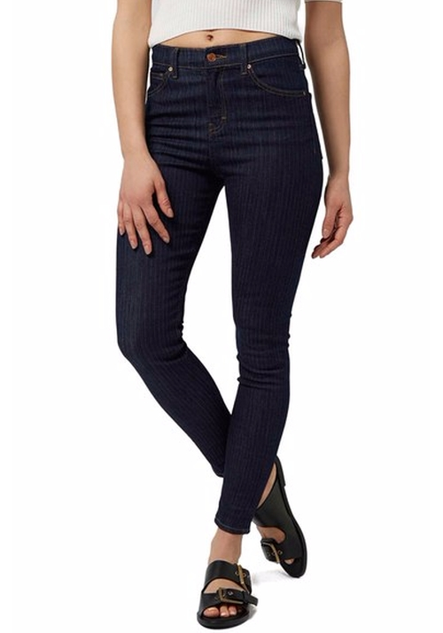 'Jamie' Pinstripe Ankle Skinny Jeans by Topshop in Pretty Little Liars - Season 7 Episode 4
