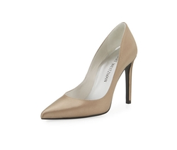 Curvia Satin Pointed-Toe Pumps by Stuart Weitzman in Empire
