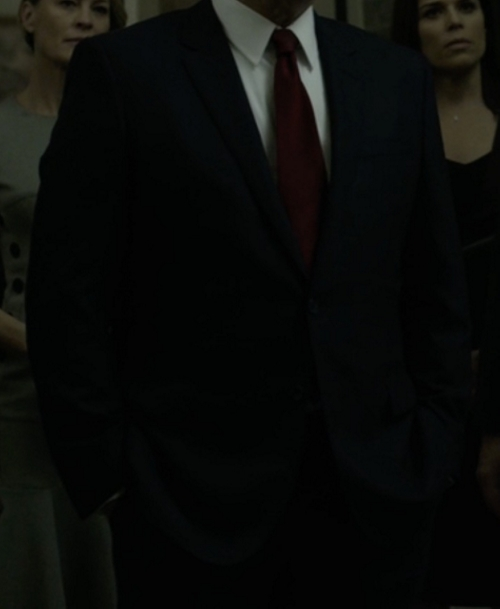 Custom Made Black Notch Lapel Suit by Hugo Boss in House of Cards - Season 4 Episode 13