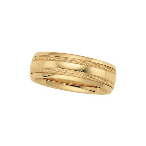 14K Yellow Gold Rope Trim Comfort-Fit Band by Katarina in Prisoners