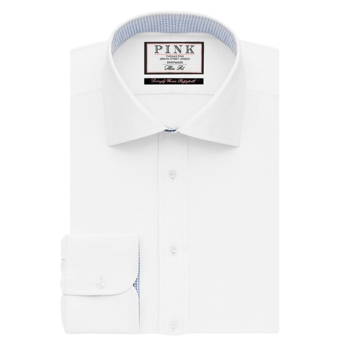 Davenport Plain Slim Fit Button Cuff Shirt by Thomas Pink in Victor Frankenstein