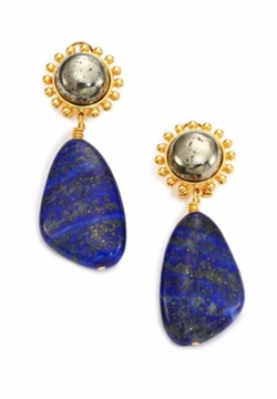 Lapis Lazuli & Pyrite Drop Earrings by Nest in Empire