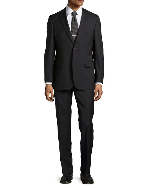 Solid Two-Piece Suit, Black by Hugo Boss in Vice