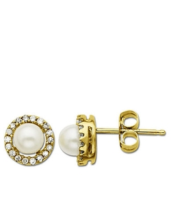 Freshwater Pearl Earrings with Diamond Accent by Lord & Taylor in Suits