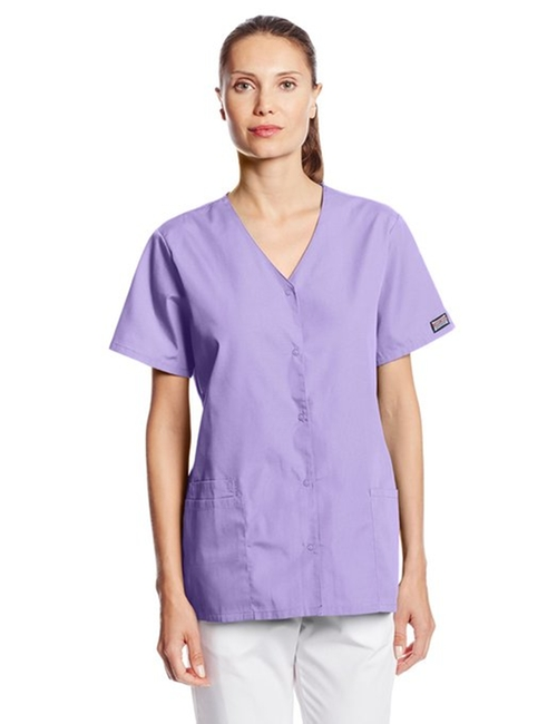 Workwear Scrub Snap Front V-Neck Top by Cherokee in Ballers