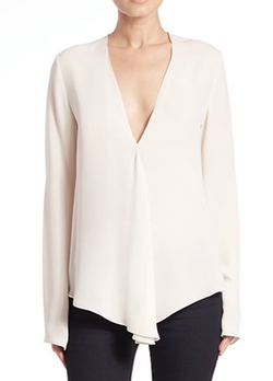 Meniph Classic Silk V-Neck Blouse by Theory in The Flash