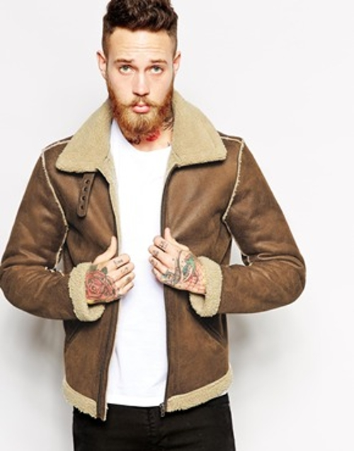 Faux Shearling Biker Jacket by ASOS in Fight Club