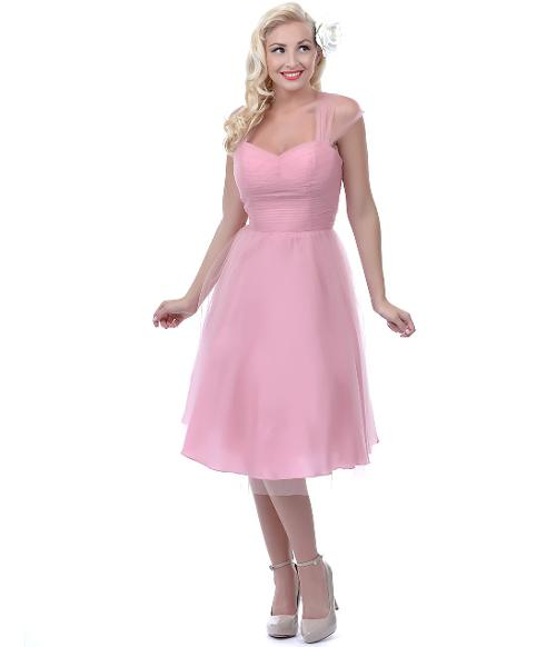 Pink Garden State Mesh Cocktail Dress by Unique Vintage in Get On Up