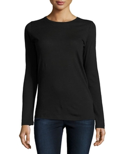 Long-Sleeve Crewneck Top by Majestic Paris for Neiman Marcus in The Good Wife