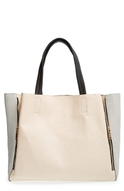 Colorblock Faux Leather Tote Bag by Street Level in Dope