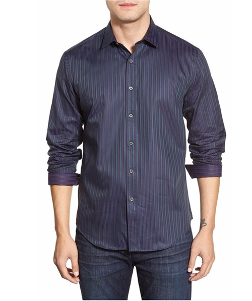 Shaped Fit Stripe Sport Shirt by Bugatchi in The Intern