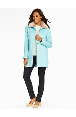 Faux Fur-Trimmed Gramercy Short Coat by Talbots in Scream Queens