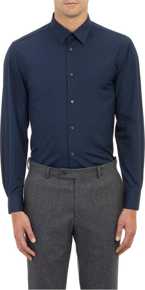 Cord-trim Poplin Dress Shirt by Façonnable in Blackhat