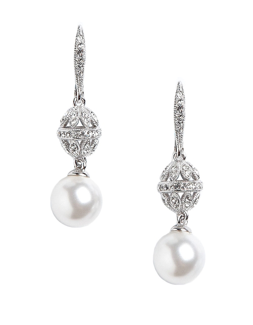 Sparkling Faux Pearl Earrings by Nadri in Clueless