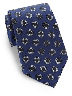 Dotted Oval Print Silk Tie by Armani Collezioni in The Judge